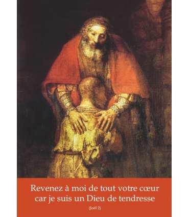 """Poster / affiche Fils Prodigue de Rembrandt - avec texte : Revenez à moi... (sans """"Carême"""")"""