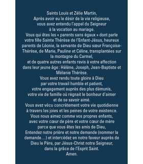 """Carte Prière """"Saints Louis et Zelie Martin"""""""