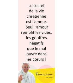 Kakémono Pape François (citation : Le secret de la vie) (KM14-0023)