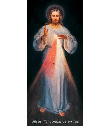 Kakémono Miséricorde Divine de Soeur Faustine (Jésus, j'ai confiance en Toi - texte en bas) (KM15-0018)