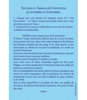 """Carte Prière """"Neuvaine de l'Immaculée Conception"""""""