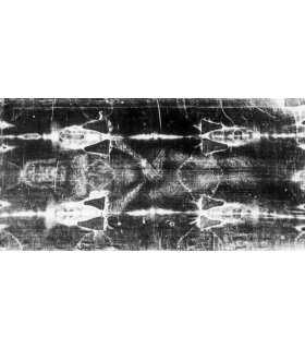 """Grand Format """"Linceul de Turin entier""""  (face avant positif) version NOIR ET BLANC (100x210cm) (GF15-0023_R2.10)"""