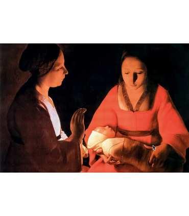 """Grand Format """"La Nativité"""" du peintre Georges de la Tour (GF15-0062)"""