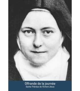 """Carte Prière """"Sainte Thérèse de l'Enfant Jésus"""" (Offrande de la journée) (CA15-0005)"""