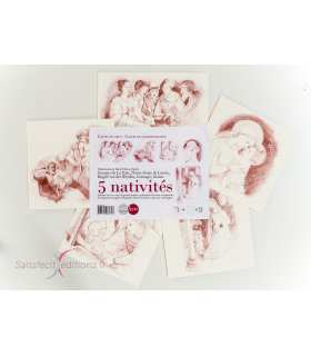 Assortiment des 5 cartes de voeux de la Nativité (SAT0110)