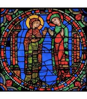 """Grand Format Vitrail de Chartres """"Visitation"""" (GF15-0071)"""