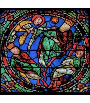 """Grand Format Vitrail de Chartres """"l'ange et les rois mages"""" (GF15-0073)"""