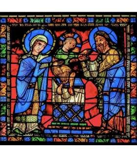 """Grand Format Vitrail de Chartres """"Présentation de Jésus au Temple"""" (GF15-0074)"""