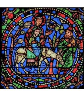 """Grand Format Vitrail de Chartres """"Fuite en Egypte"""" (GF15-0076)"""