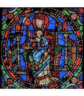 """Grand Format Vitrail de Chartres """"Vierge à l'enfant"""" (GF15-0077)"""