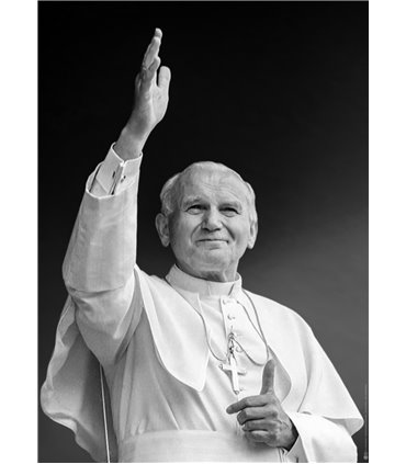 Grand Format Pape Jean-Paul II (noir et blanc) (GF15-0037)