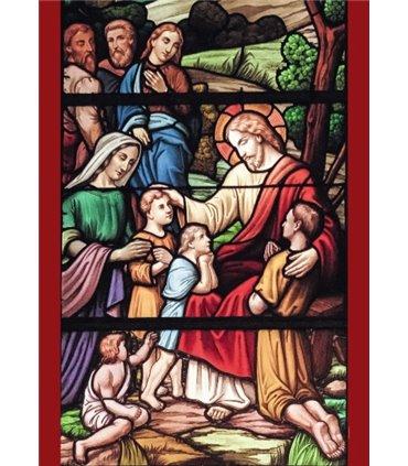 """Grand Format Vitrail de """"Jésus et les enfants"""" (GF15-0078)"""