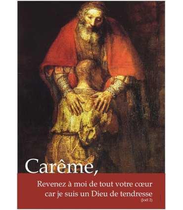 Poster Carême - Fils Prodigue de Rembrandt - avec texte : Revenez à moi... (PO14-0013)