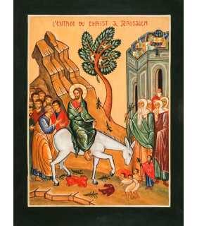 Grand Format Icône Entrée à Jérusalem (Ateliers du Roseau) (GF14-0012_R1.32)
