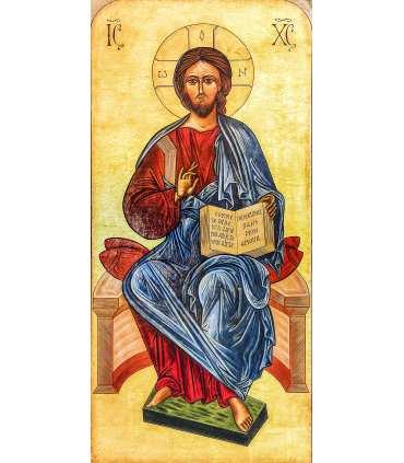 Grand Format Christ Pentocrator Icône Bénédictines du Mont des Oliviers (GF14-0040)