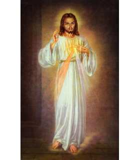 Grand Format Divine Misericorde, Sr Faustine tableau du christ en pied