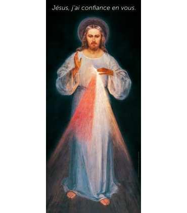 Kakémono Miséricorde Divine de Soeur Faustine (Jésus, j'ai confiance en Vous - texte en haut) (KM15-0014)