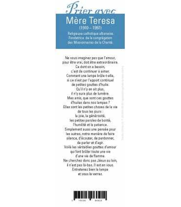 """Lot de 10 Signets """"Prier avec"""" Mère Teresa"""